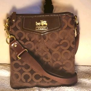 Brown and Gold Coach Crossbody
